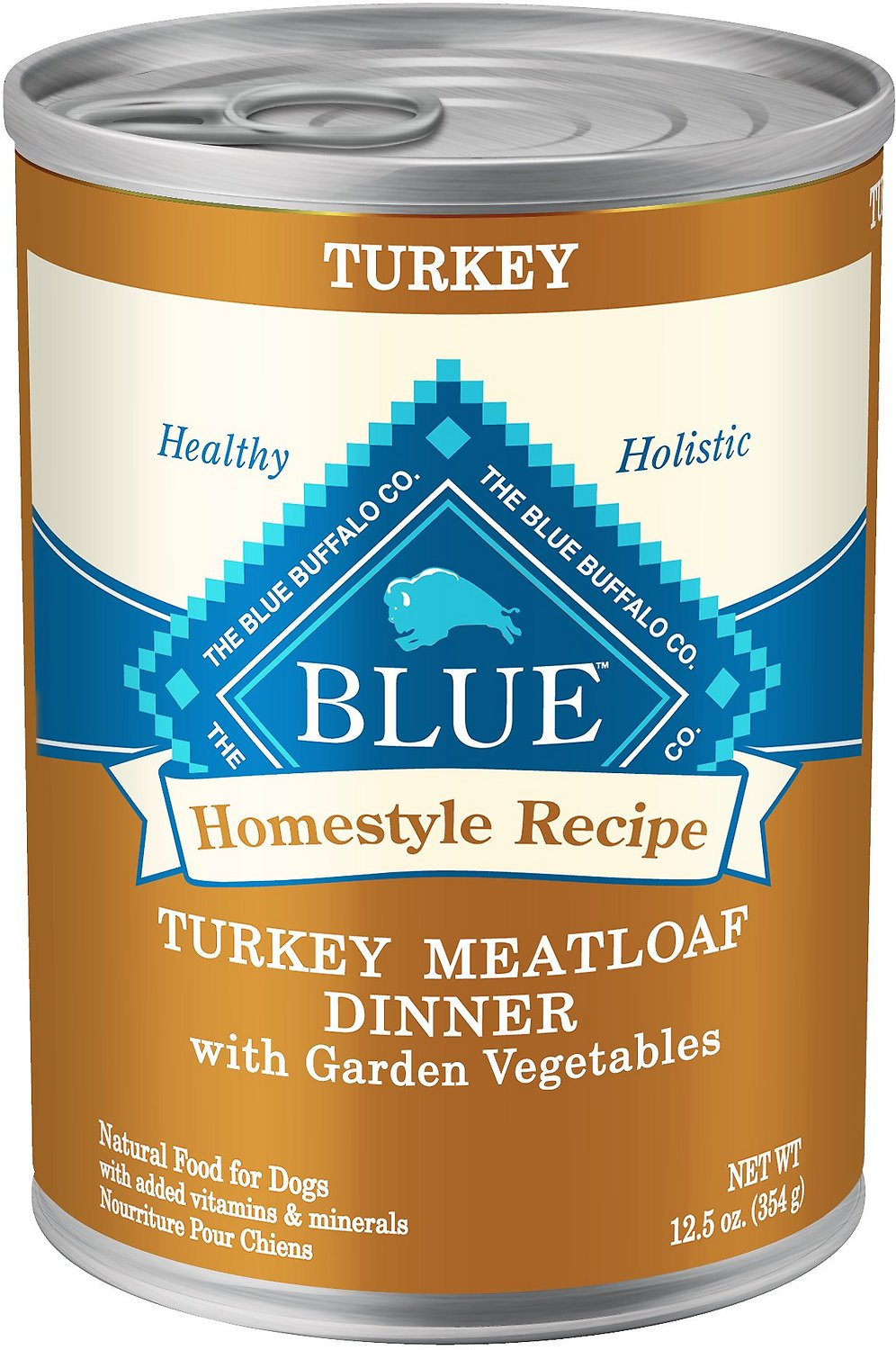 Blue Buffalo Homestyle Recipe Turkey Meatloaf Dinner with Garden Vegetables Canned Dog Food, 12.5-oz