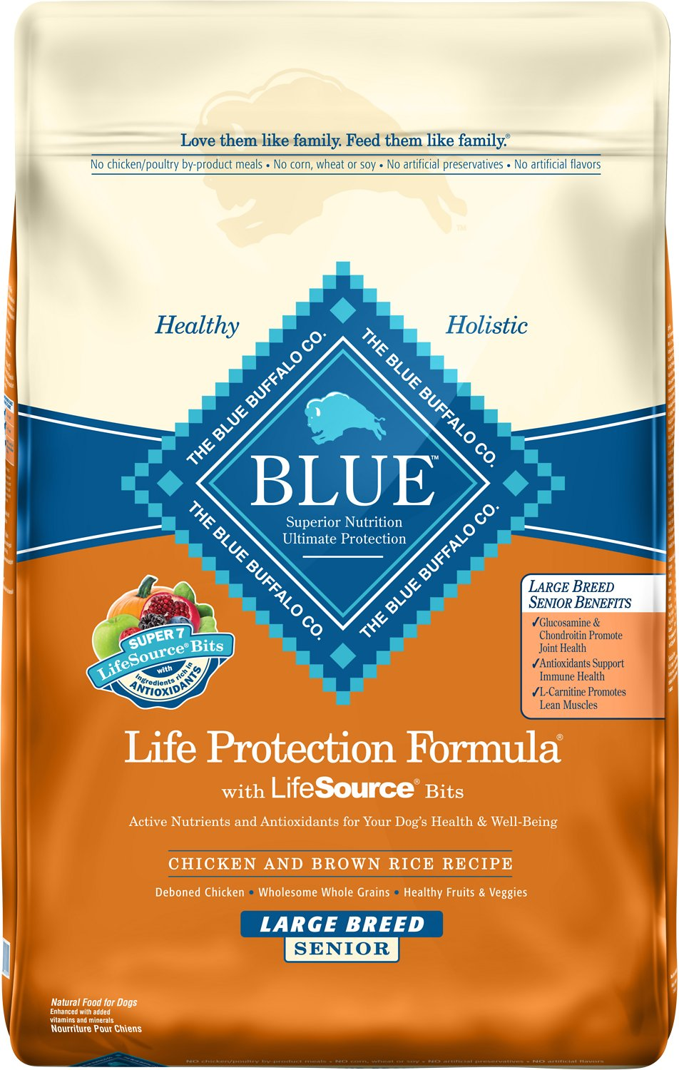 Blue Buffalo Life Protection Formula Large Breed Senior Chicken & Brown Rice Recipe Dry Dog Food, 30-lb bag Image