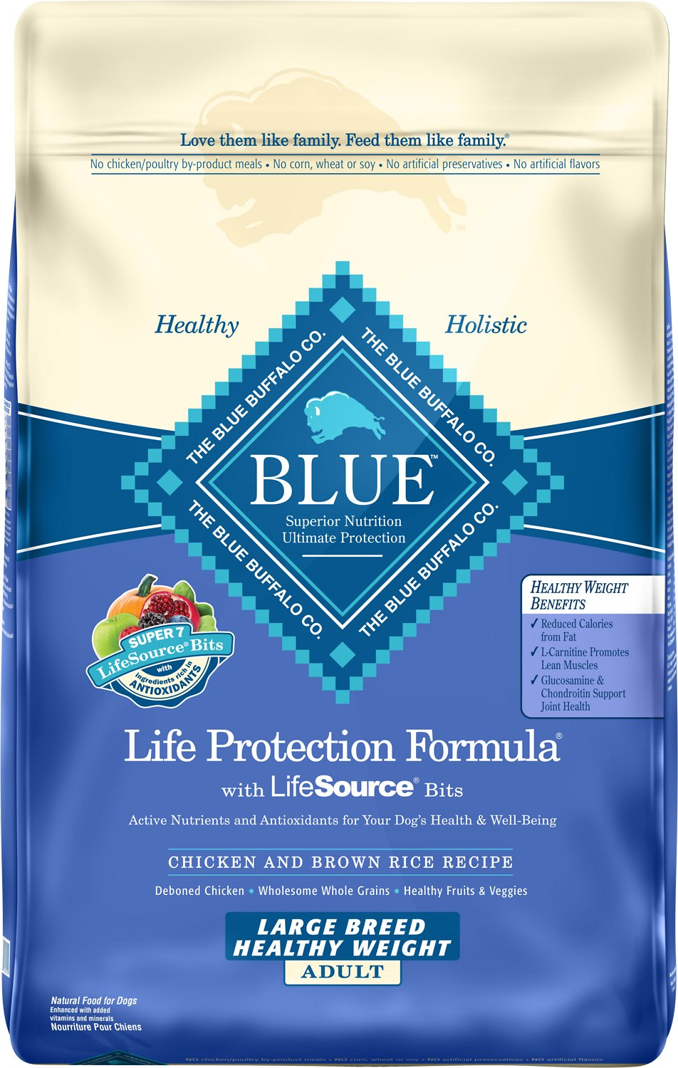 Blue Buffalo Life Protection Formula Large Breed Healthy Weight Adult Chicken & Brown Rice Recipe Dry Dog Food, 30-lb bag Image