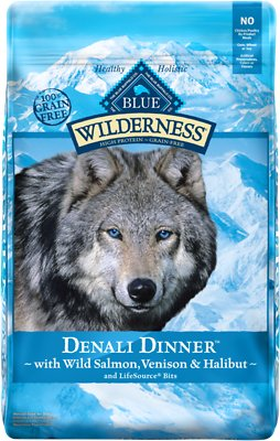 Blue Buffalo Wilderness Denali Dinner with Wild Salmon, Venison & Halibut Grain-Free Dry Dog Food, 22-lb bag