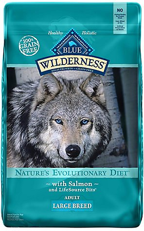 Blue Buffalo Wilderness Large Breed Salmon Recipe Grain-Free Dry Dog Food, 24-lb bag Weights: 24.0pounds