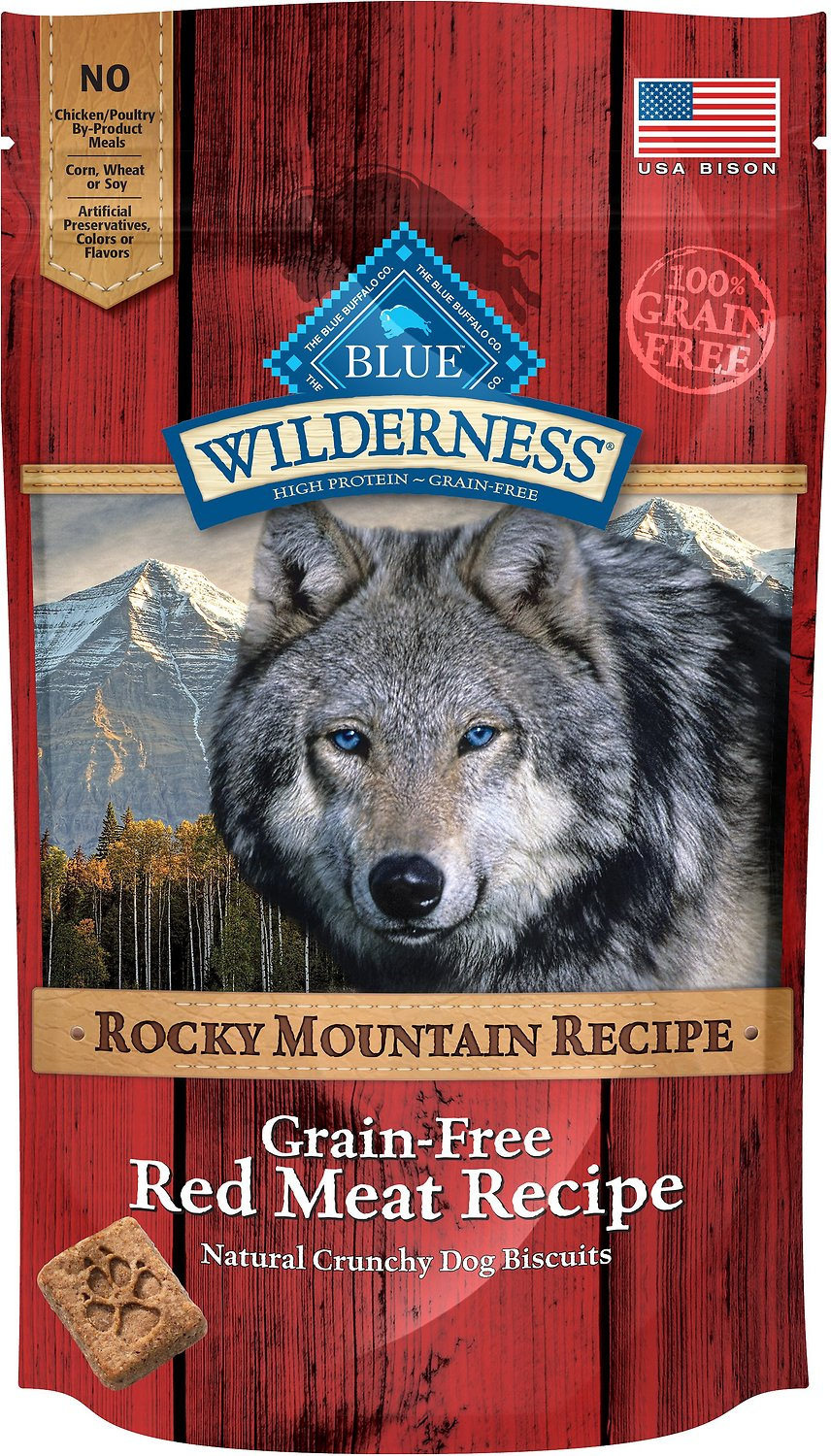 Blue Buffalo Wilderness Rocky Mountain Red Meat Recipe Biscuits Grain-Free Dog Treats, 8-oz bag
