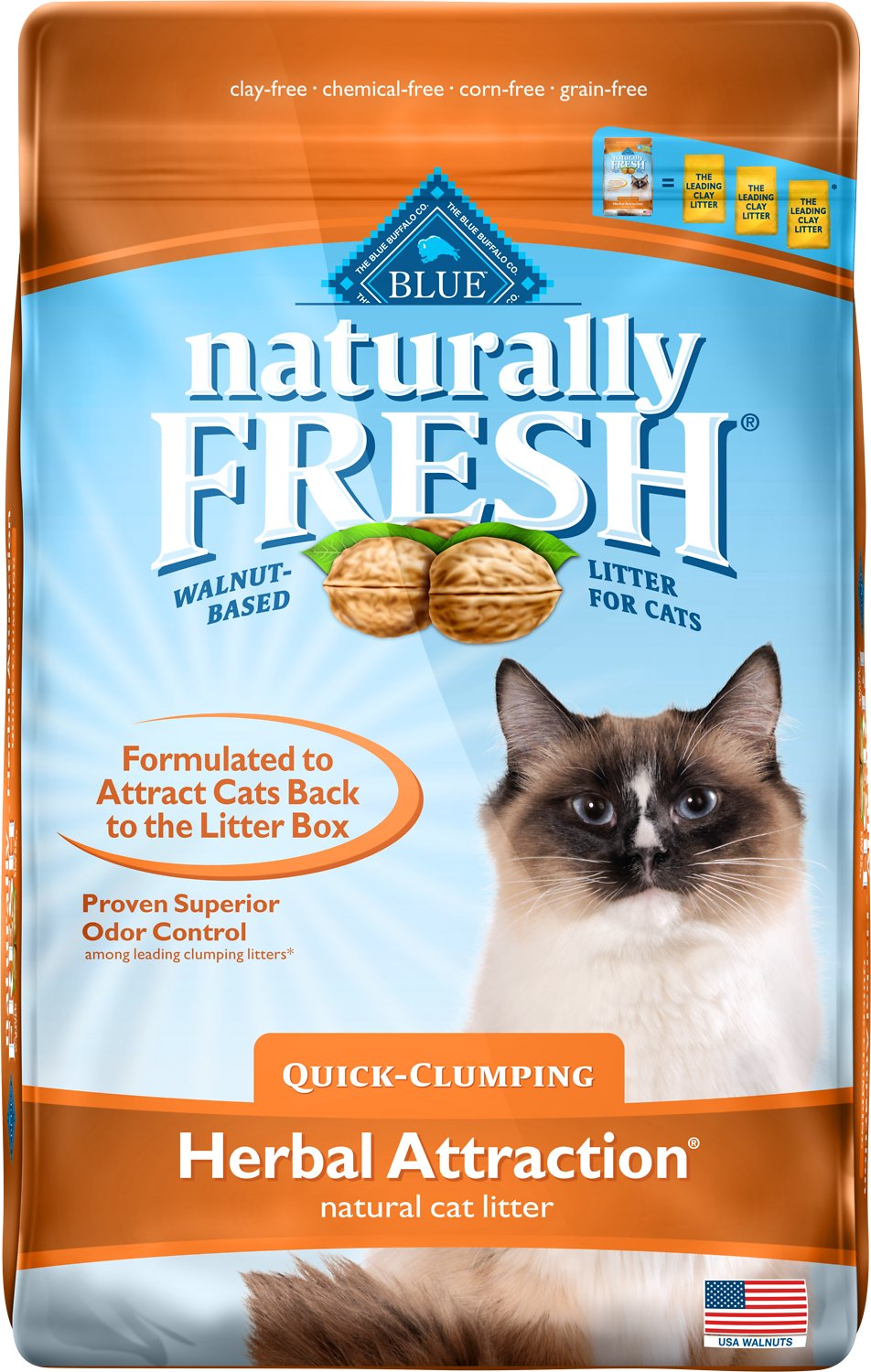 Blue Buffalo Naturally Fresh Walnut-Based Herbal Attraction Quick-Clumping Cat Litter, 14-lb bag