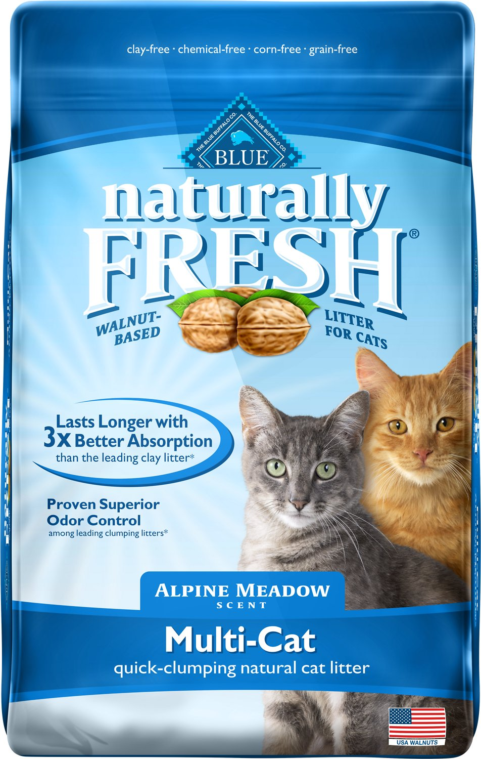 Naturally Fresh Walnut-Based Alpine Meadow Scent Multi-Cat Quick-Clumping Cat Litter, 14-lb bag