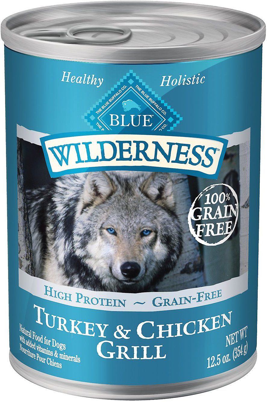 Blue Buffalo Wilderness Turkey & Chicken Grill Grain-Free Canned Dog Food, 12.5-oz
