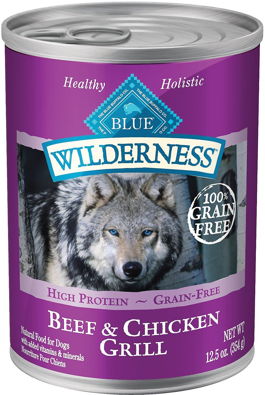 Blue Buffalo Wilderness Beef & Chicken Grill Grain-Free Canned Dog Food, 12.5-oz