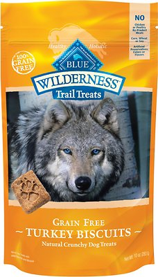 Blue Buffalo Wilderness Trail Treats Turkey Biscuits Grain-Free Dog Treats, 10-oz bag