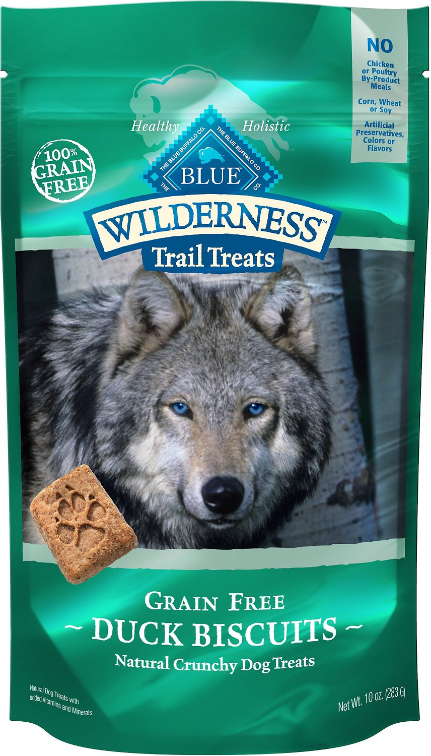Blue Buffalo Wilderness Trail Treats Duck Biscuits Grain-Free Dog Treats, 10-oz bag