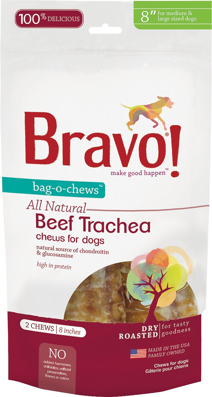 "Bravo! Bag-O-Chews 8"" Beef Trachea Chews Dry-Roasted Dog Treats, 2 pack"