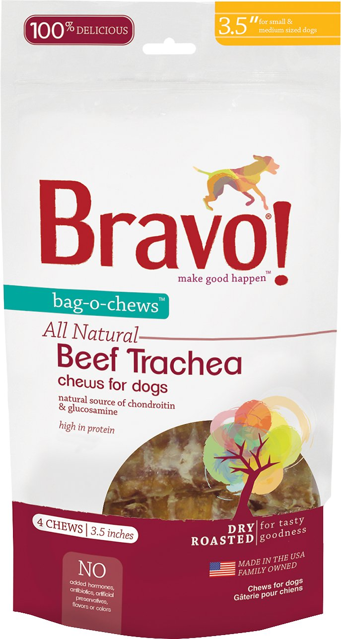 "Bravo! Bag-O-Chews 3.5"" Beef Trachea Chews Dry-Roasted Dog Treats, 4 pack"