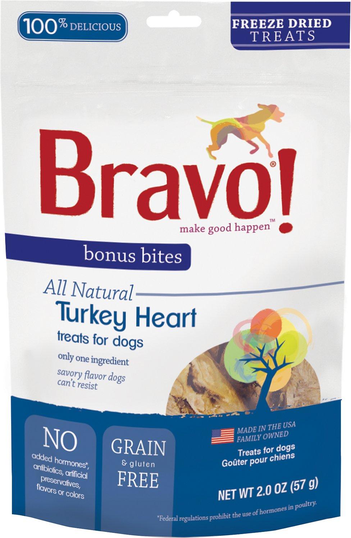 Bravo! Bonus Bites Turkey Heart Freeze-Dried Dog Treats, 2-oz bag