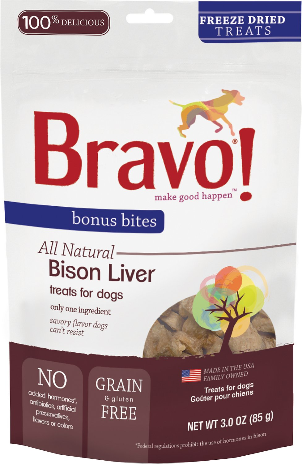 Bravo! Bonus Bites Bison Liver Freeze-Dried Dog Treats, 3-oz bag