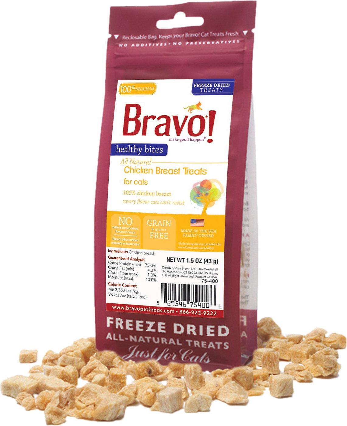 Bravo! Healthy Bites Chicken Breast Freeze-Dried Cat Treats, 1.5-oz bag