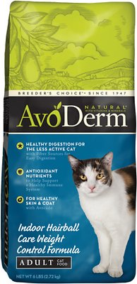AvoDerm Natural Indoor Weight Control Formula with Hairball Relief Adult Dry Cat Food