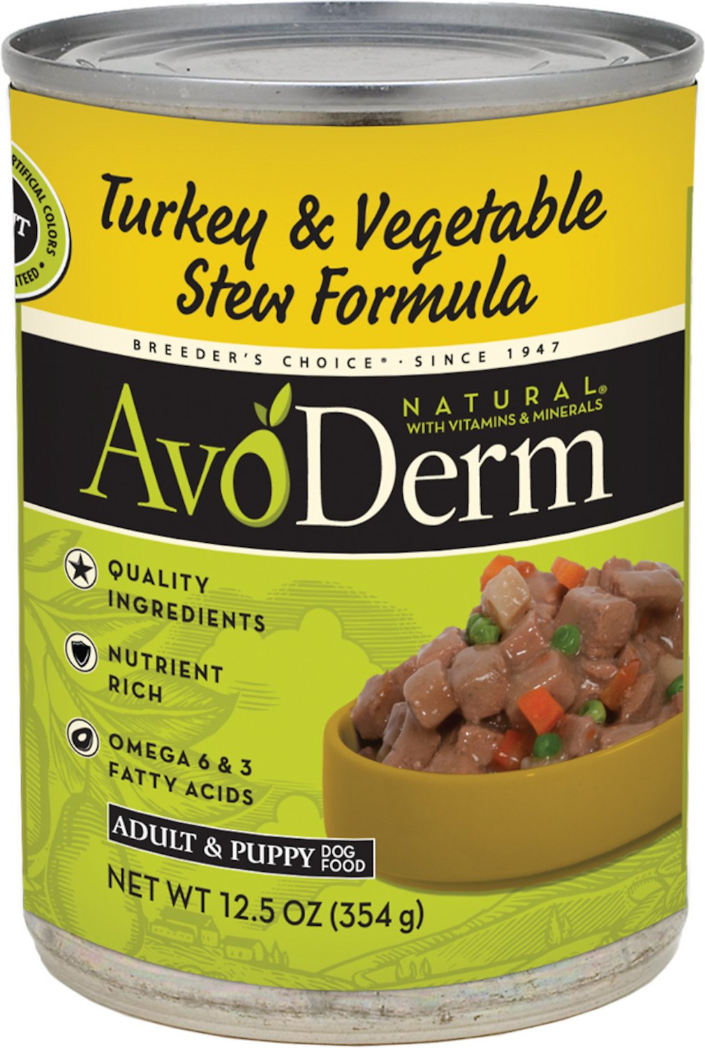 AvoDerm Natural Grain-Free Turkey & Vegetable Stew Recipe Adult & Puppy Canned Dog Food, 12.5-oz