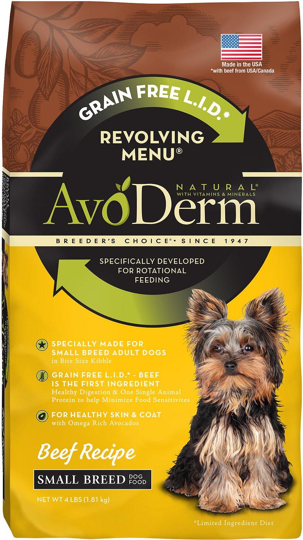 AvoDerm Natural Grain-Free Revolving Menu Small Breed Beef Recipe Adult Dry Dog Food, 4-lb bag
