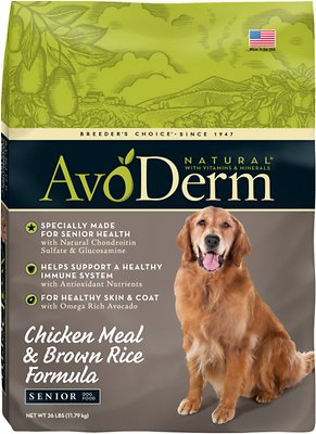 AvoDerm Natural Chicken Meal & Brown Rice Formula Senior Dry Dog Food