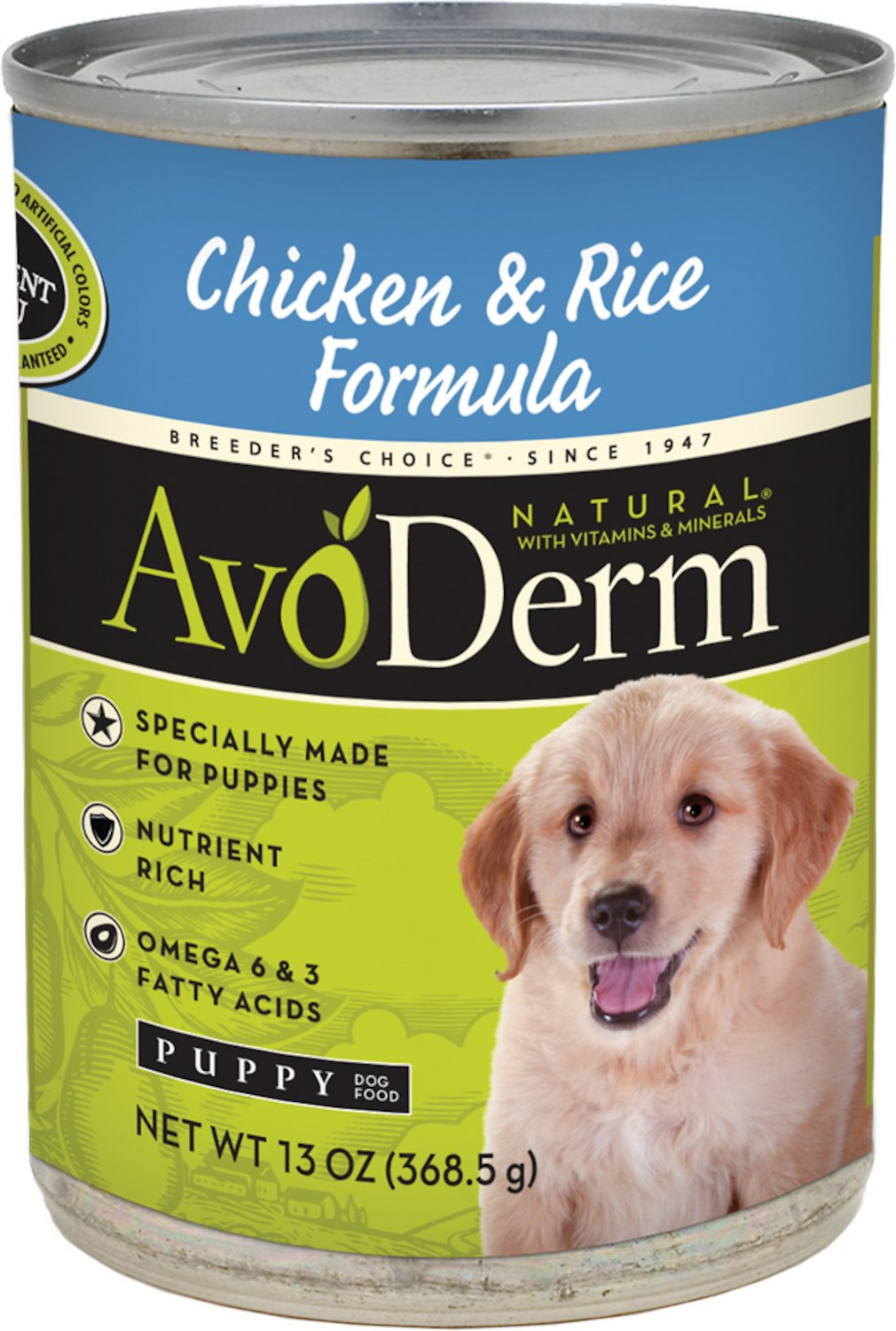 AvoDerm Natural Chicken & Rice Formula Puppy Canned Dog Food, 13-oz