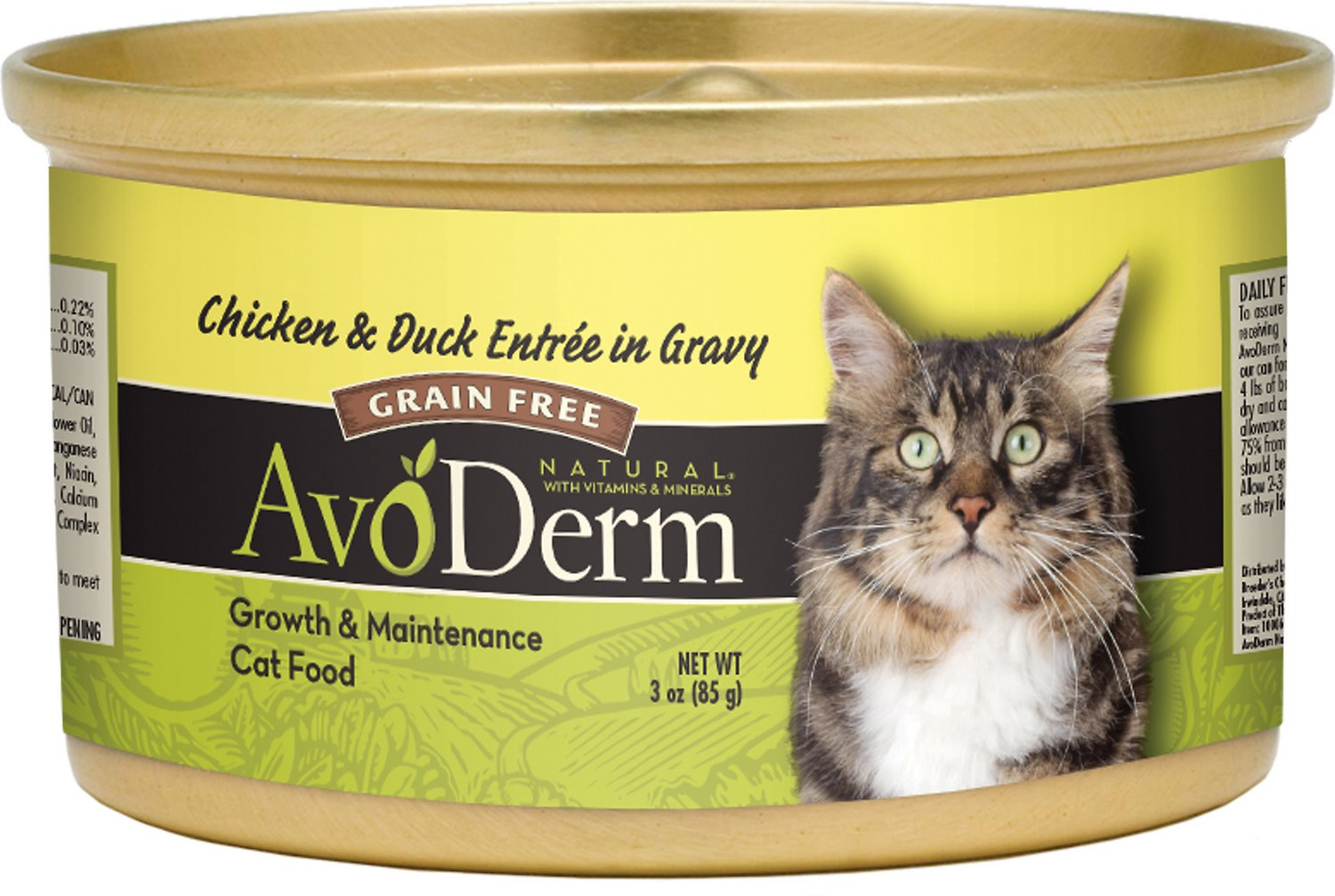 AvoDerm Natural Grain-Free Chicken & Duck Entree in Gravy Canned Cat Food, 3-oz