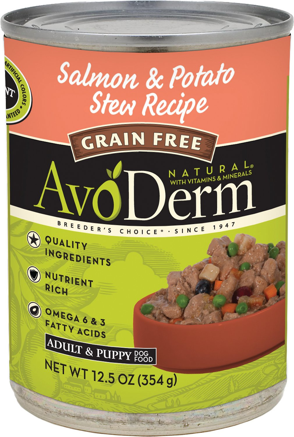 AvoDerm Natural Grain-Free Salmon & Potato Stew Recipe Adult & Puppy Canned Dog Food, 12.5-oz