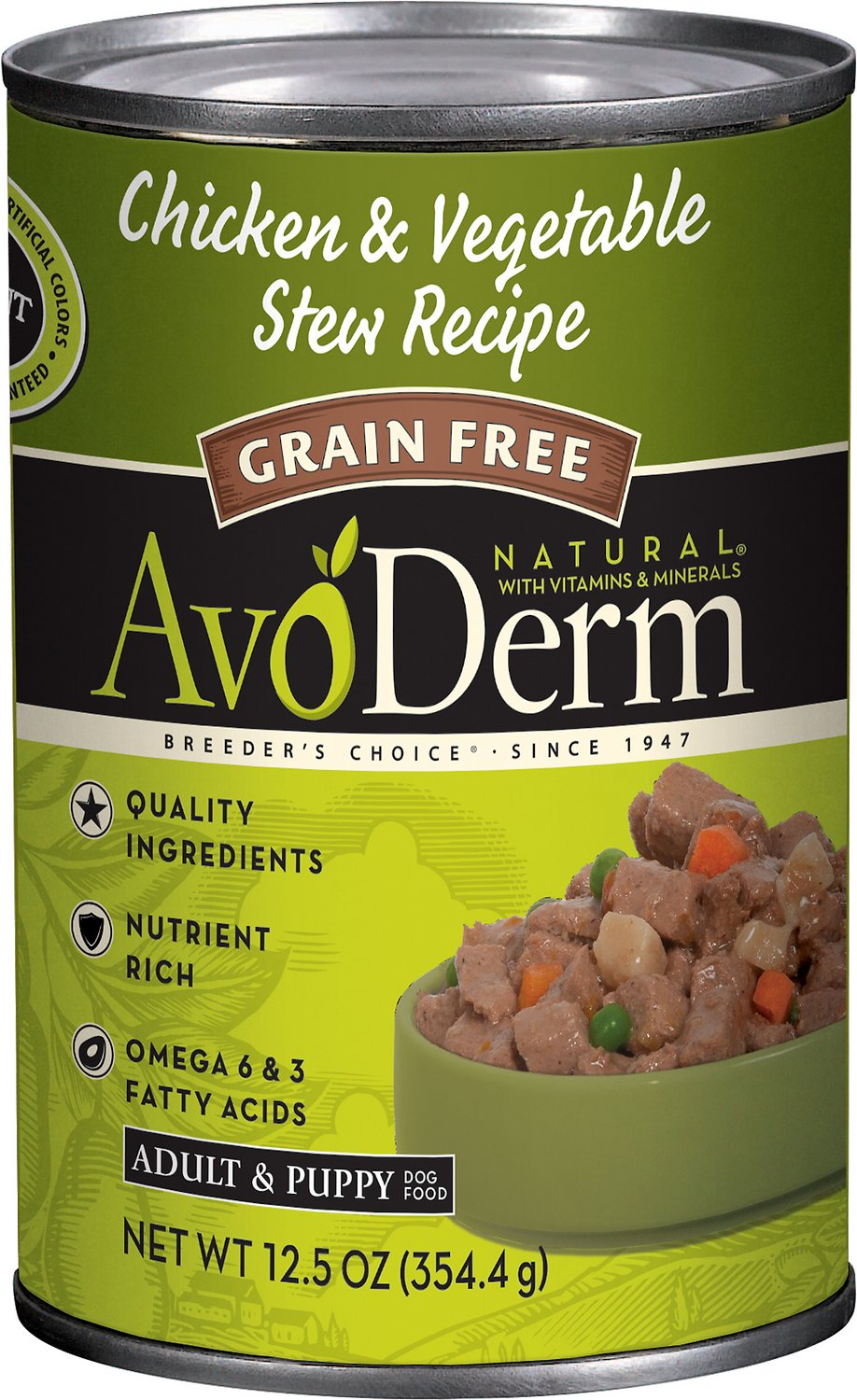 AvoDerm Natural Grain-Free Chicken & Vegetable Stew Recipe Adult & Puppy Canned Dog Food, 12.5-oz