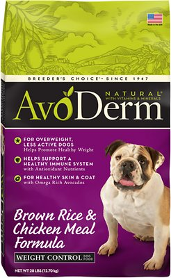 AvoDerm Natural Brown Rice & Chicken Meal Formula Weight Control Dry Dog Food
