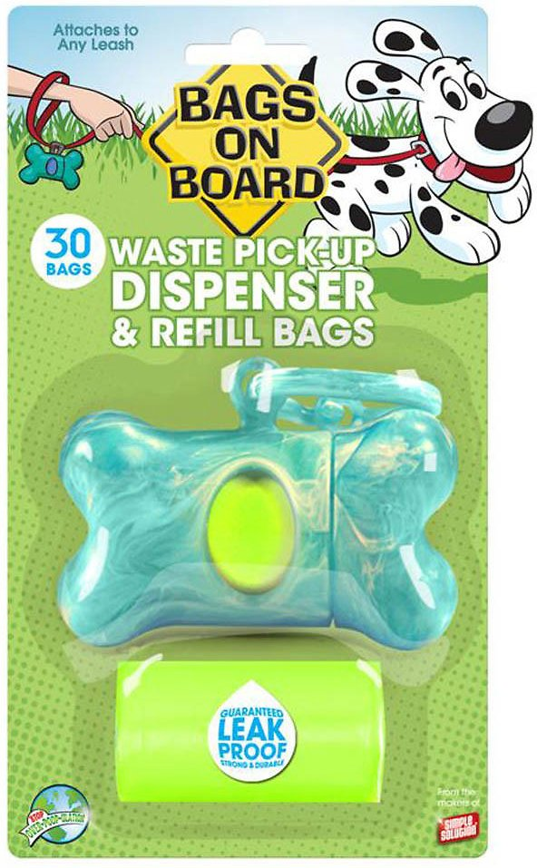 Bags on Board Bone Dispenser, Turquoise Marble, 1 dispenser, 30 bags
