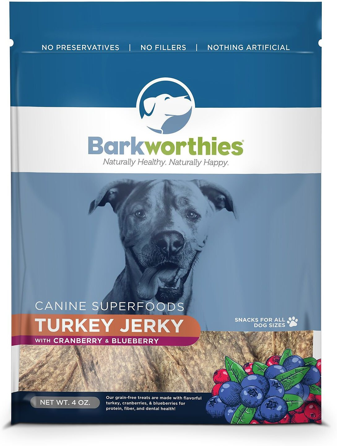 Barkworthies Turkey with Cranberry & Blueberry Superfood Jerky Dog Treats, 4-oz bag