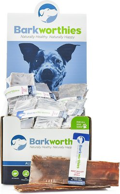 Barkworthies Small Beef Gullet Strip Dog Treats, case of 40