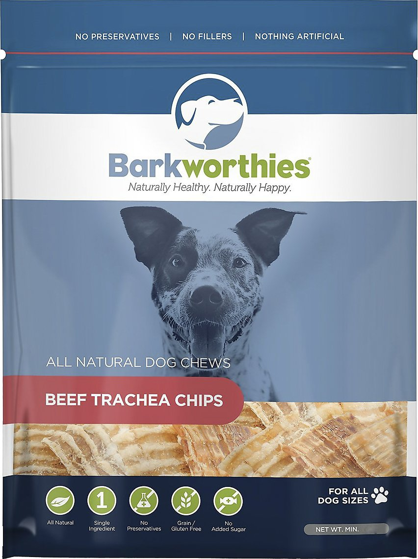 Barkworthies Beef Trachea Chips Dog Treats, 16-oz bag