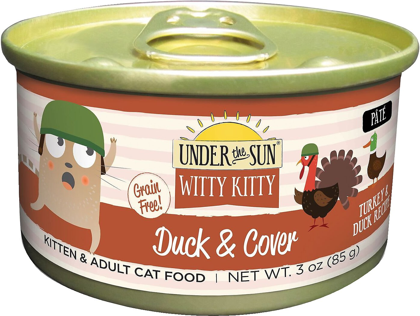 Under the Sun Witty Kitty Duck & Cover Grain-Free with Turkey & Duck Canned Cat Food, 3-oz