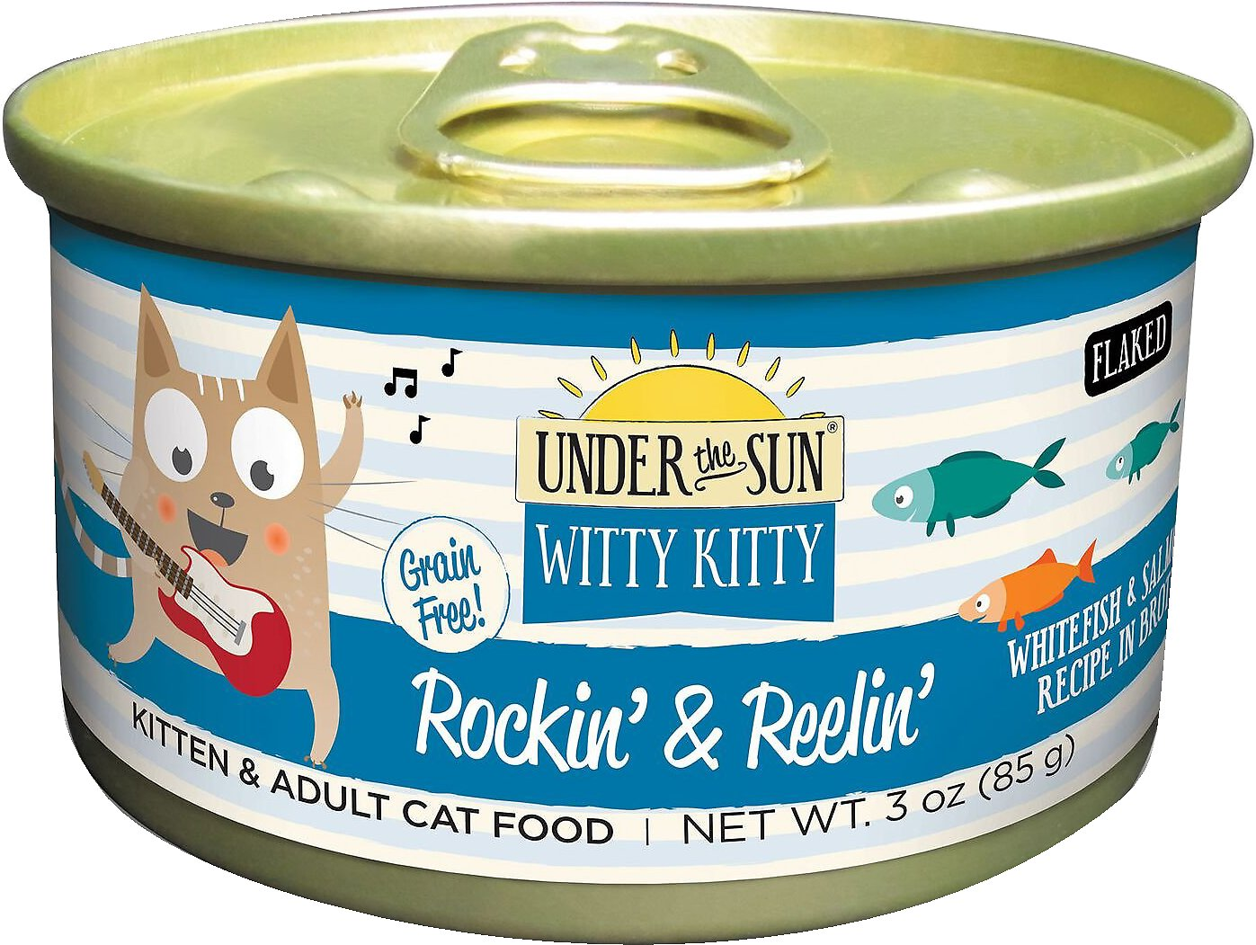 Under the Sun Witty Kitty Rockin' & Reelin' Grain-Free with Whitefish & Salmon Canned Cat Food, 3-oz