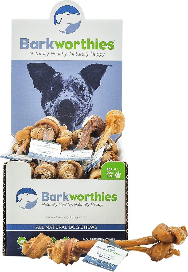 Barkworthies Skinny Knotted Bone Bully Sticks Dog Treats, Case of 25