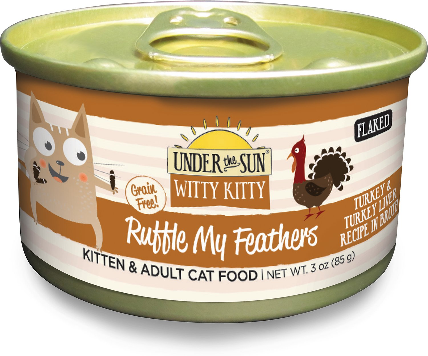 Under the Sun Witty Kitty Grain-Free Ruffle My Feathers Turkey & Turkey Liver Recipe Canned Cat Food, 3-oz