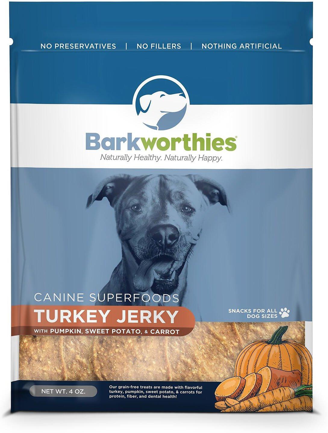 Barkworthies Turkey with Pumpkin, Sweet Potato & Carrot Superfood Jerky Dog Treats, 4-oz bag