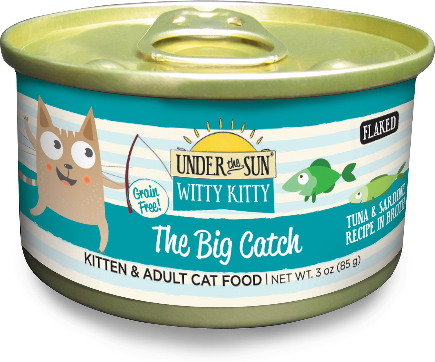 Under the Sun Witty Kitty Grain-Free The Big Catch Tuna & Sardine Recipe Canned Cat Food, 3-oz