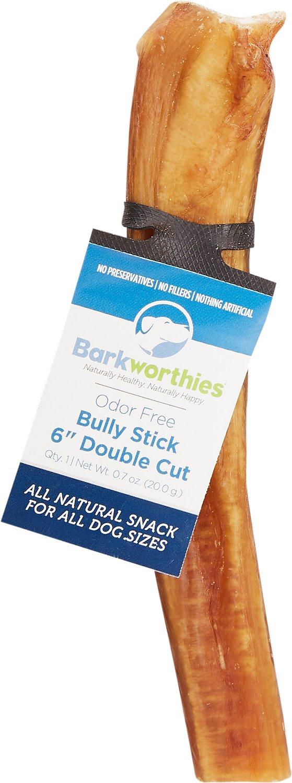 Barkworthies Odor-Free Double Cut Bully Sticks Dog Treats, 6-in