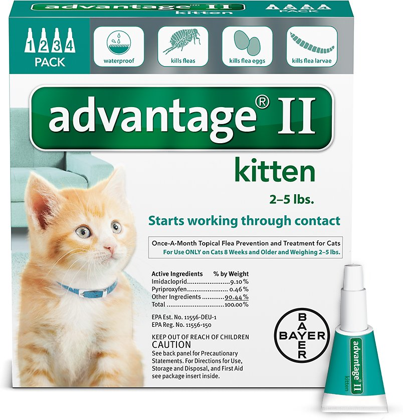 Bayer Advantage II Flea Treatment for Kittens 2-5 lbs, 4 treatments