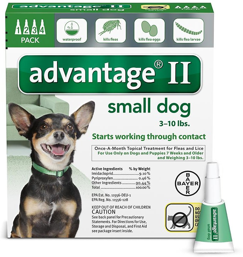 Bayer Advantage II Flea Treatment for Small Dogs 3-10 lbs, 4-pack
