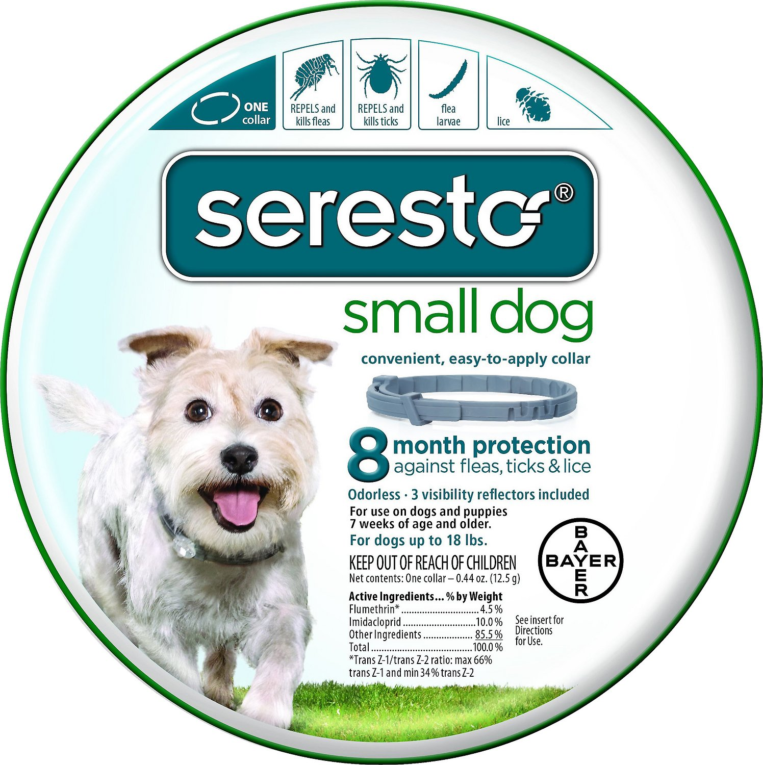 Seresto 8 Month Flea & Tick Prevention Collar for Small Dogs up to 18lbs