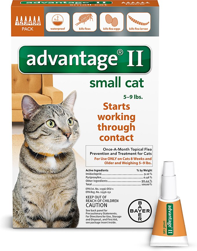 Advantage II Flea Treatment for Small Cats 5 lbs to 9 lbs & Ferrets Image