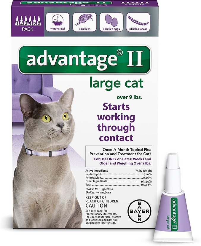 Bayer Advantage II Flea Treatment for Large Cats Over 9 lbs, 4-pack