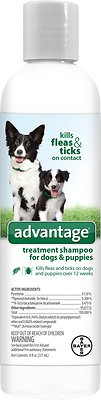 Bayer Advantage Flea & Tick Treatment Shampoo for Dogs & Puppies, 8-oz