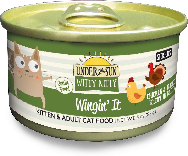 Under the Sun Witty Kitty Grain-Free Wingin' It Chicken & Turkey Recipe Canned Cat Food, 3-oz