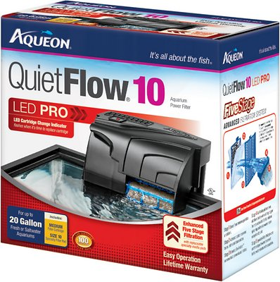 Aqueon QuietFlow Fresh & Saltwater Aquarium Filter, Size 10