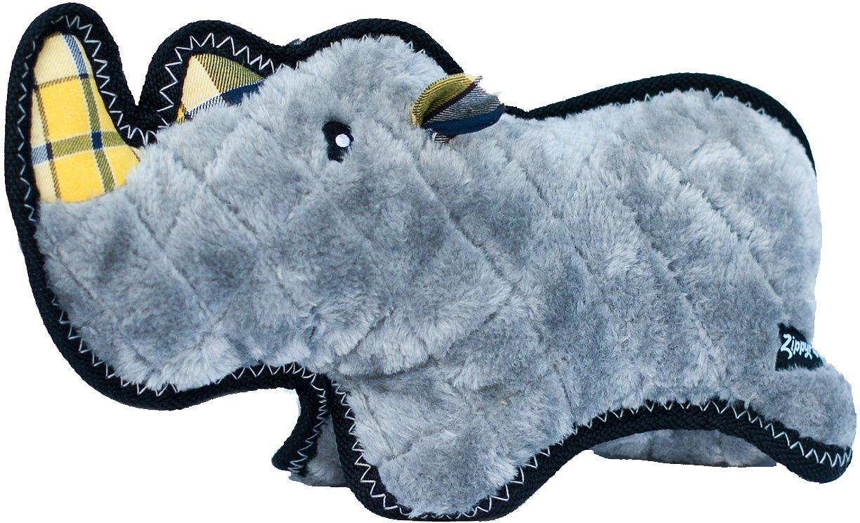 ZippyPaws Z-Stitch Grunterz Ronny the Black Rhino Dog Toy
