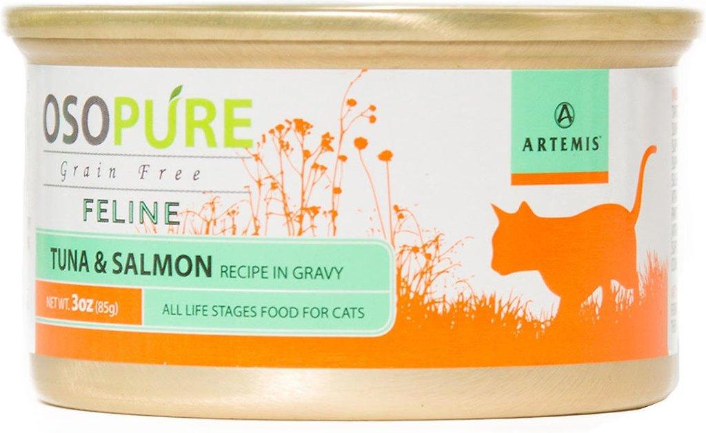 Artemis Osopure Grain-Free Tuna & Salmon Recipe in Gravy Grain-Free Canned Cat Food, 3-oz