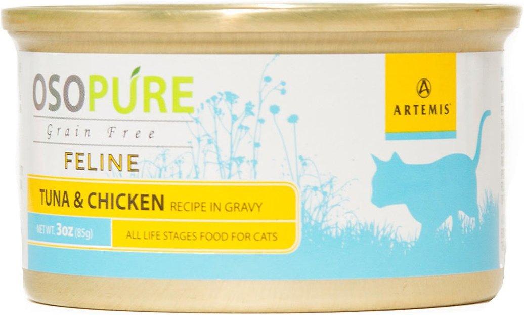 Artemis Osopure Tuna & Chicken Recipe in Gravy Grain-Free Canned Cat Food, 3-oz