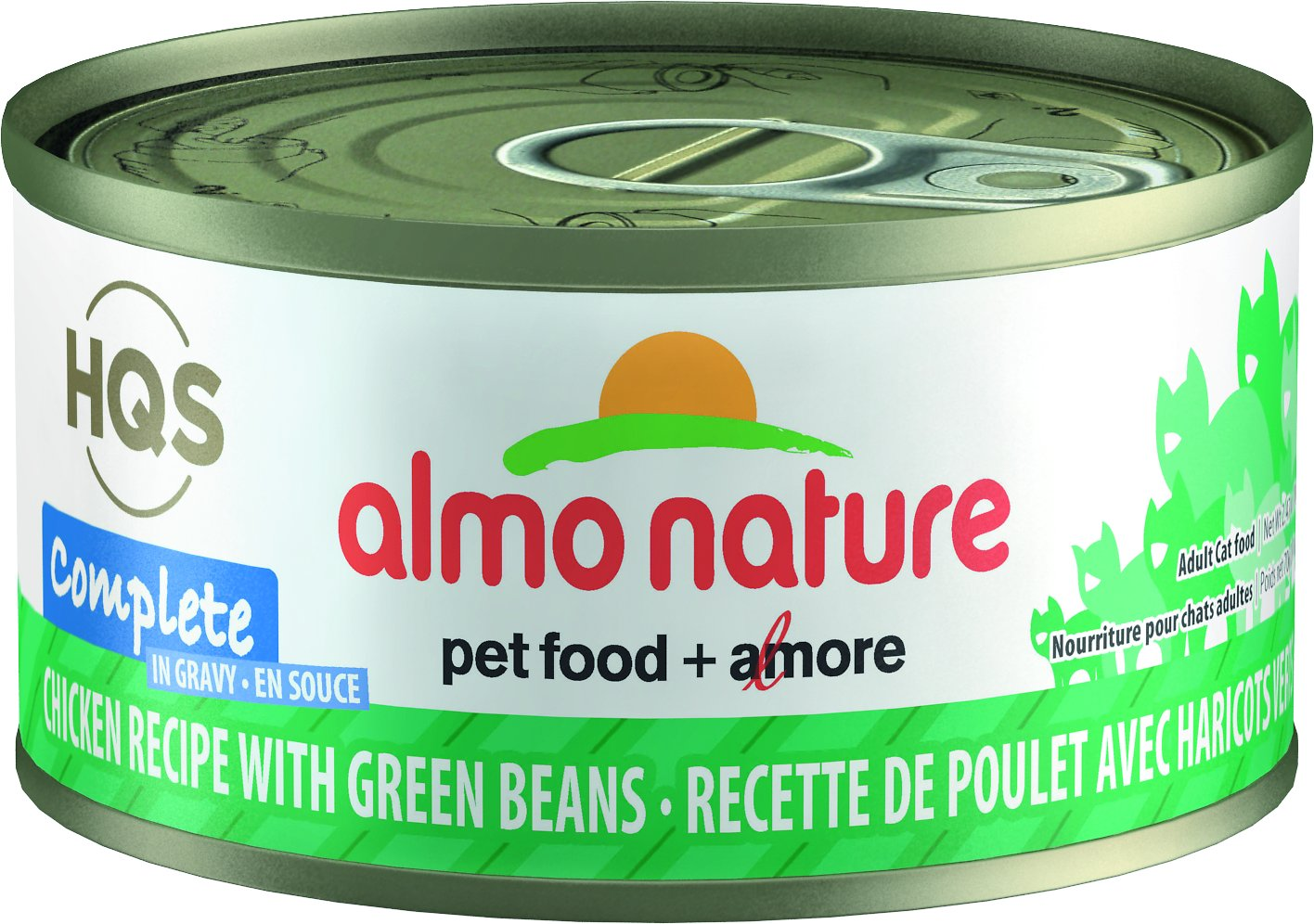 Almo Nature HQS Complete Chicken Recipe with Green Beans Grain-Free Canned Cat Food, 2.47-oz