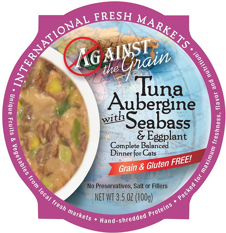 Against the Grain Tuna Aubergine with Seabass & Eggplant Dinner Grain-Free Wet Cat Food, 3.5-oz
